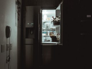 silver French-door refrigerator